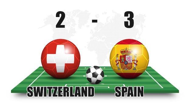 Svizzera vs spagna. pallone da calcio con motivo a bandiera nazionale sul campo di calcio in prospettiva. priorità bassa della mappa del mondo di punti. risultato della partita di calcio e tabellone segnapunti. torneo di coppa sportiva. disegno vettoriale 3d