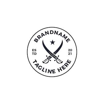Illustrazione del design del logo del distintivo della spada