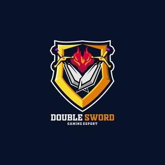 Sword fire e-sport logo doppio