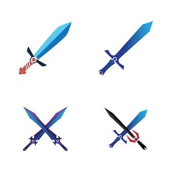 Modello di logo di simbolo di vettore di elemento di gioco di spada