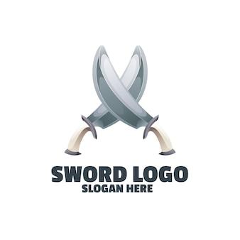 Logo colorato sfumato di spada