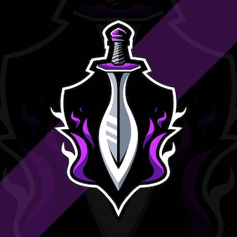 Il modello di progettazione di esports logo mascotte re spada