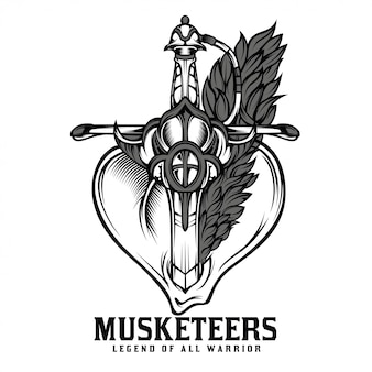 Illustrazione in bianco e nero di spada di moschettieri