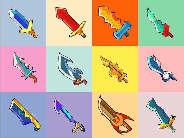 Illustrazione dell'icona di vettore della spada concetto di spada bianco piatto isolato in stile cartone animato per l'animazione del gioco