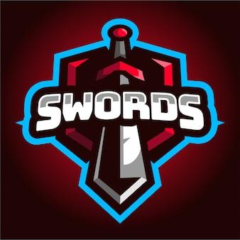 Logo di gioco e-sport di spade