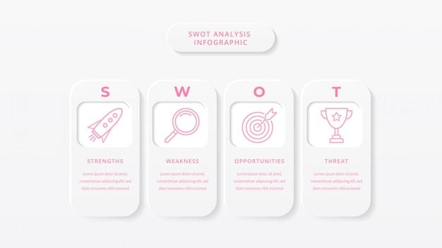 Modello di infographic di affari di analisi di swot