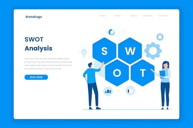 Pagina di destinazione piatta dell'analisi swot