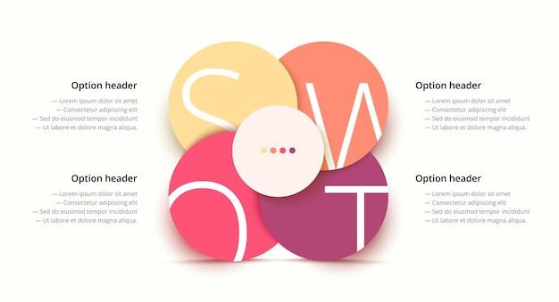 Infografica di analisi swot elementi grafici di pianificazione strategica aziendale circolare presentazione aziendale