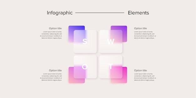 Infografica di analisi swot elementi grafici di pianificazione strategica aziendale quadrata modello di diapositiva di presentazione aziendale