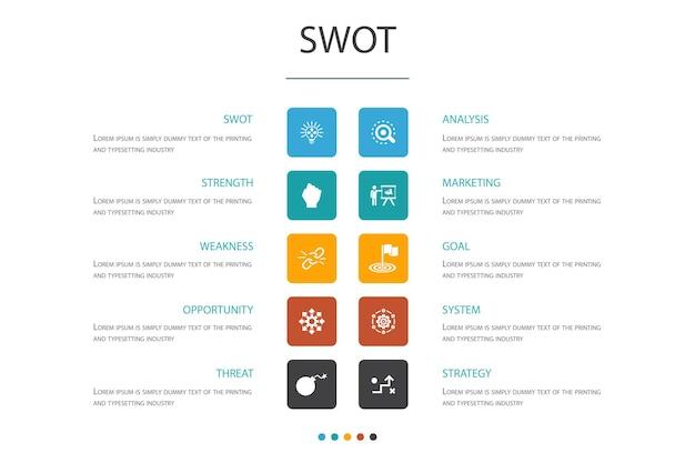 Concetto di opzione swot infographic 10. icone semplici di forza, debolezza, opportunità, minaccia