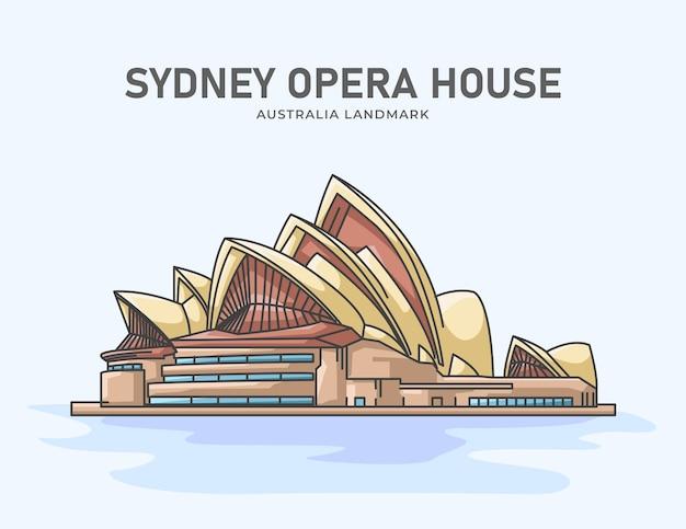 Illustrazione minimalista del punto di riferimento australiano del teatro dell'opera di sydney