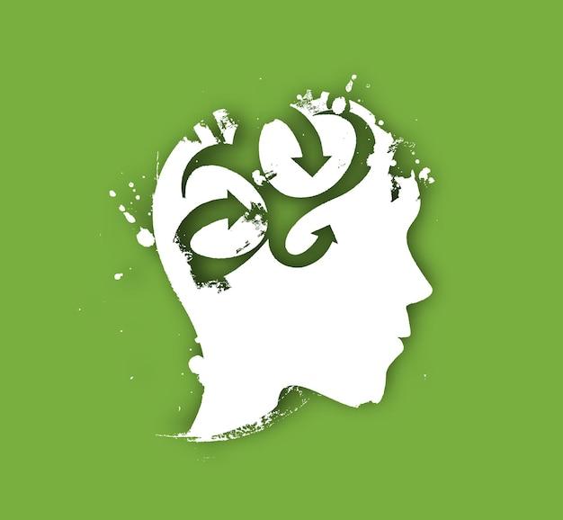 Simbolo del cervello creativo, disegno vettoriale isolato
