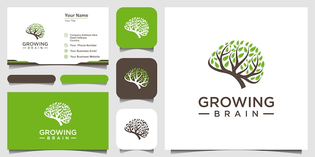 Simbolo creativo crescente cervello logo combinazione cervello logo con logo albero e biglietto da visita