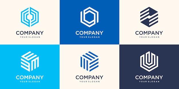 Simbolo di design del logo esagonale con il concetto di striscia, modello di logo aziendale moderno dell'azienda