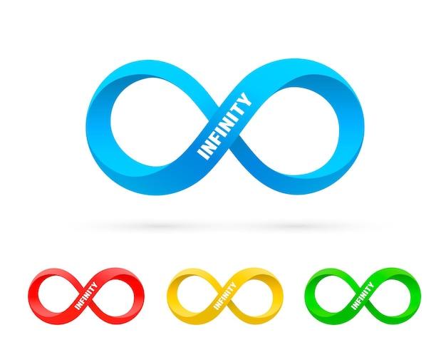 Simbolo di informazioni sull'arte dell'infinito, collezione di set di colori. illustrazione vettoriale