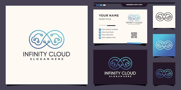 Simbolo dell'infinito e della tecnologia del logo cloud con grafica al tratto e design di biglietti da visita vettore premium