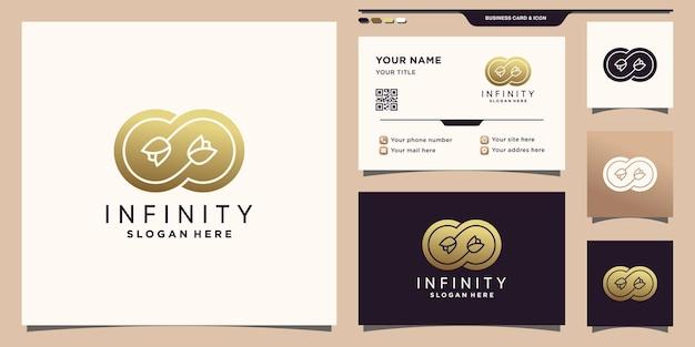 Simbolo dell'infinito e del logo della rosa dei fiori con un concetto unico e un design di biglietti da visita vettore premium