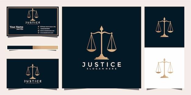 Simbolo della legge della giustizia premium. studio legale, design del logo e biglietto da visita