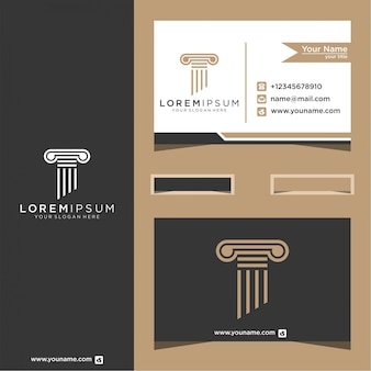 Simbolo della legge del design del logo della giustizia premium con biglietti da visita