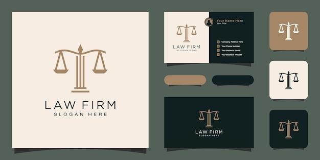 Simbolo avvocato avvocato difensore modello stile lineare logo aziendale e biglietto da visita
