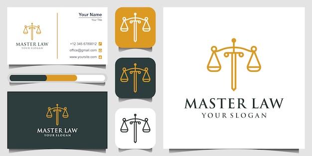 Modello di avvocato avvocato simbolo modello stile lineare. shield sword law studio legale logotipo e biglietto da visita della compagnia di sicurezza