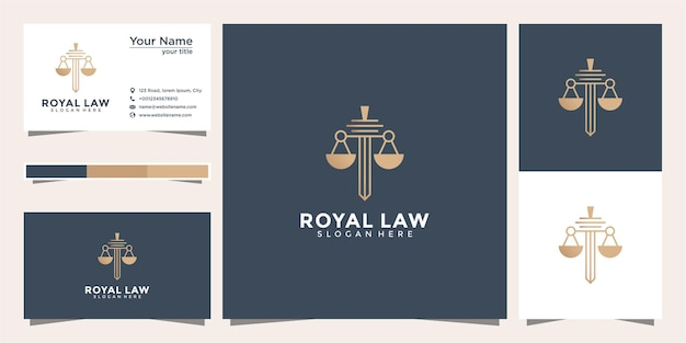 Simbolo avvocato avvocato avvocato modello stile lineare. scudo spada legge società legale società di sicurezza logo e biglietto da visita