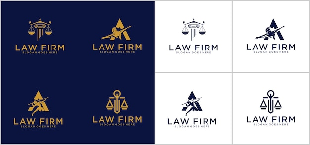 Simbolo avvocato avvocato avvocato modello stile lineare. scudo spada legge società legale società di sicurezza logotipo
