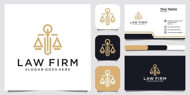 Simbolo avvocato avvocato avvocato modello stile lineare scudo spada legge studio legale società di sicurezza
