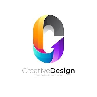 Simbolo lettera o logo e vettore di design colorato, stile 3d