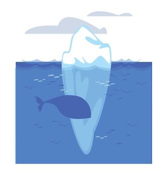 Un simbolo di un ghiacciaio che si scioglie e un iceberg nell'acqua che una balena sta nuotando nelle vicinanze