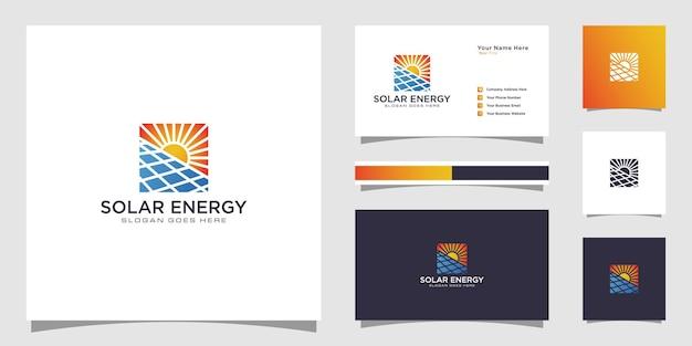 Modello di progettazione del logo dell'energia solare di simbolo del sole e design del biglietto da visita