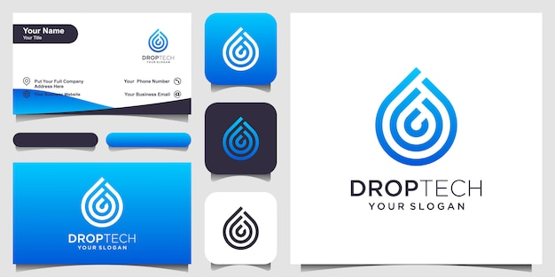 Simbolo dell'acqua con stile art linea. gocciolina con stile art line per concept mobile e web. set di logo e biglietti da visita
