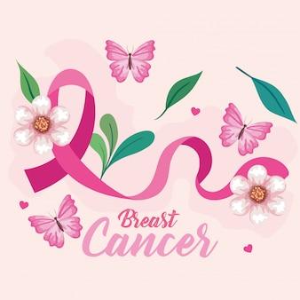 Simbolo del mese mondiale della consapevolezza del cancro al seno in ottobre con nastro rosa, farfalle, foglie e decorazioni a cuore