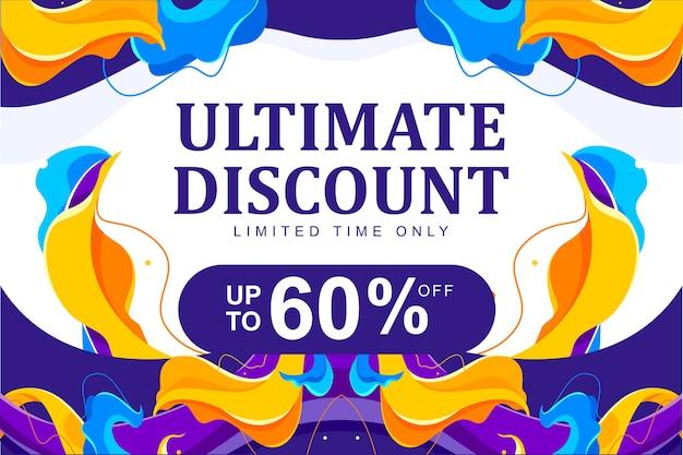 Volantino di flusso astratto colorato simmetrico e sfondo del modello di banner per sconti, promozioni, offerte speciali o vendita