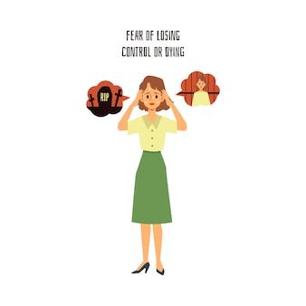 Il sintomo o il segno di un attacco di panico è la paura di perdere il controllo e la morte, la fobia e il problema mentale della donna o della ragazza, illustrazione piana isolata di vettore del fumetto.