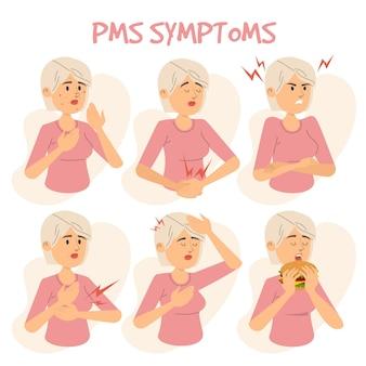 Sintomi della sindrome premestruale illustrazione di persona di sesso femminile
