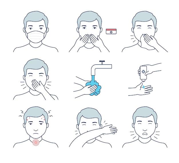 Sintomi e suggerimenti per la prevenzione di virus e infezioni. lavarsi le mani con antisettico, starnuti e tosse corretti, visiera, disinfettante per mani e naso.
