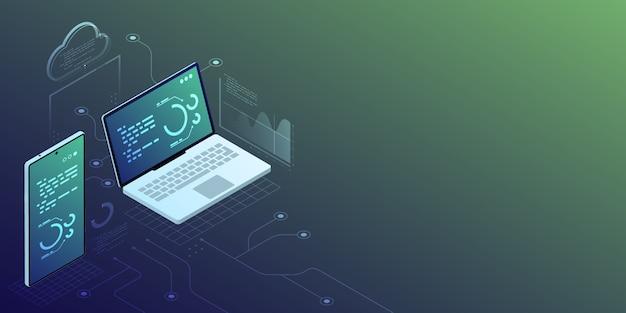 Sincronizzazione sull'illustrazione isometrica del dispositivo e della nuvola con il fondo blu dello spazio della copia, concetto di tecnologia della soluzione di analisi dei dati digitali.