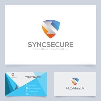 Sincronizza il modello di progettazione del logo sicuro per l'azienda tecnologica o altro