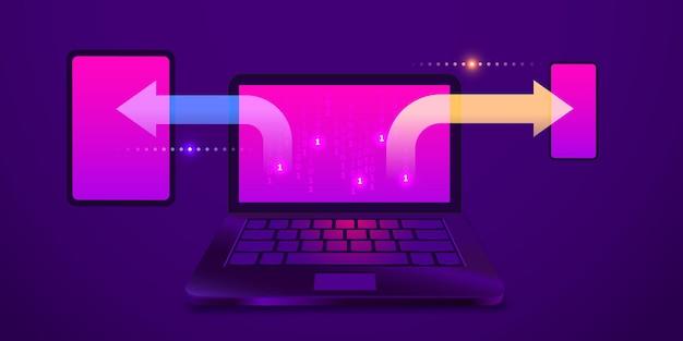 Sincronizzazione dei dati tra dispositivi laptop smartphone tablet su sfondo ultravioletto