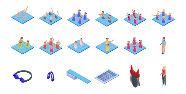 Set di icone di nuoto sincronizzato. set isometrico di icone vettoriali di nuoto sincronizzato per il web design isolato su sfondo bianco