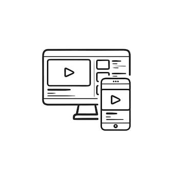 Sincronizza il telefono cellulare con l'icona di doodle del contorno disegnato a mano del computer