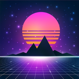 Illustrazione di synthwave retrowave con sole, montagne e rete wireframe