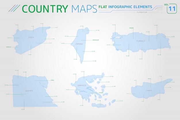 Mappe vettoriali siria, israele, turchia, grecia, cipro ed egitto