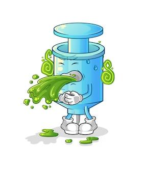 La siringa vomita cartone animato. mascotte dei cartoni animati