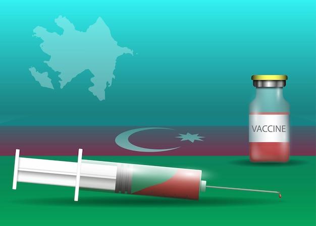 Siringa e vaccino sulla bandiera dell'azerbaigian e sulla mappa del paese