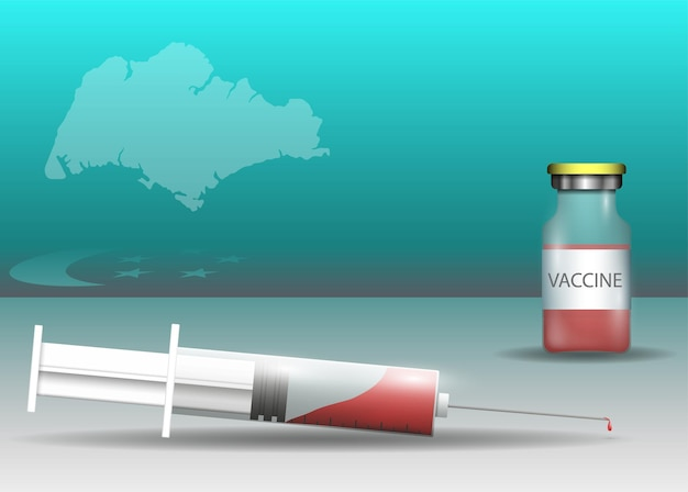 Siringa e vaccino sulla bandiera di singapore e sulla mappa del paese
