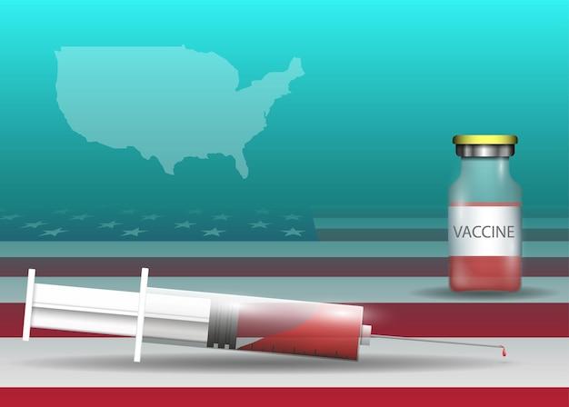 Siringa e vaccino sulla bandiera degli stati uniti e sulla mappa del paese