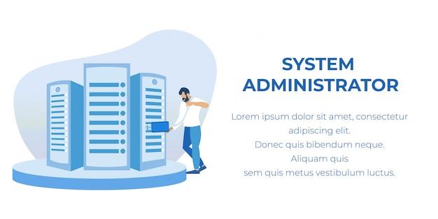 Banner pubblicitario di manutenzione dell'amministratore di sistema
