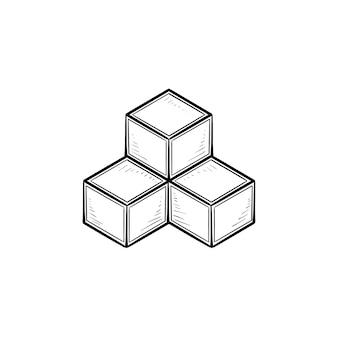 Icona di doodle di contorno disegnato a mano di parte del sistema. costruzione del sistema, architettura dei dati e concetto di modulo